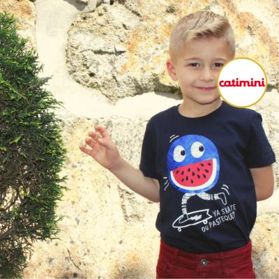 T-shirt azul marinho Catimini