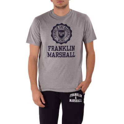 T-shirt cinza logo azul Franklin & Marshall