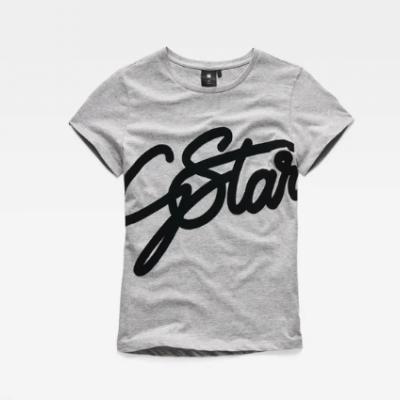 T-shirt cinza com logo em veludo G-Star Raw