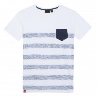 T-shirt branca com riscas azuis Beckaro