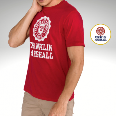 T-shirt vermelha logo Franklin & Marshall
