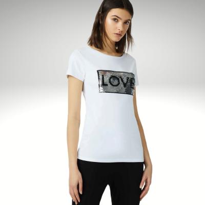 T-shirt branca lantejoulas reversíveis Liu Jo