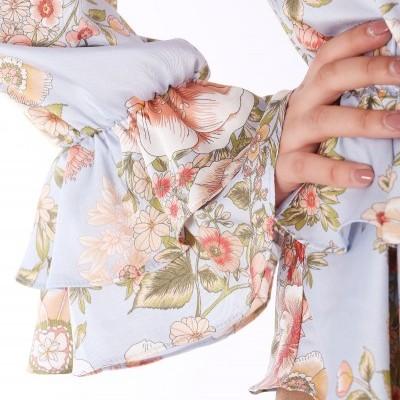 Blusa azul estampado floral Roberta Biagi