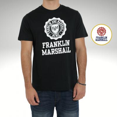 T-shirt preta logótipo branco Franklin & Marshall