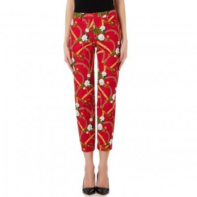 Calça clássica vermelha com padrão Liu Jo