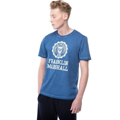 T-shirt azul logo frontal Franklin & Marshall