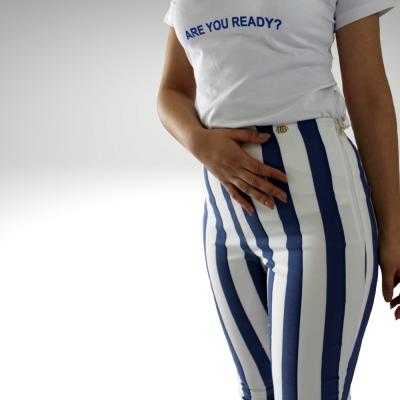 Calça riscas azuis e brancas Roberta Biagi