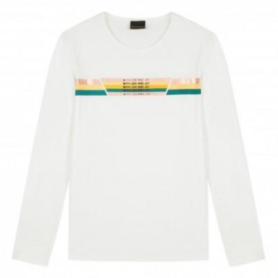 Camisola branca com listras coloridas Beckaro