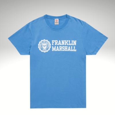 T-shirt azul com estampa frontal Franklin & Marshall