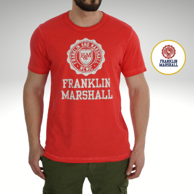 T-shirt vermelha logo frontal Franklin & Marshall