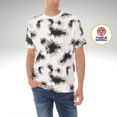 T-shirt branca com padrão preto Franklin & Marshall