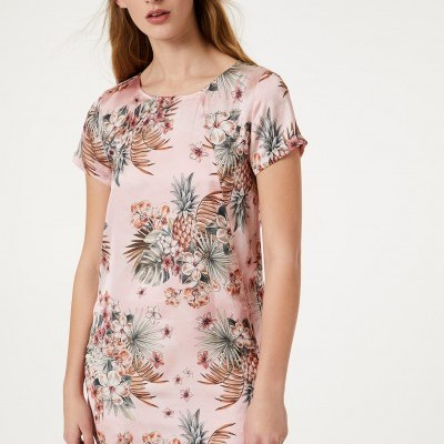 Vestido rosa curto padrão tropical Liu Jo