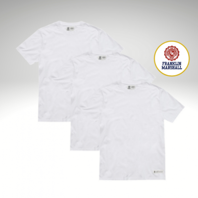 Lote de três t-shirts básicas brancas Franklin & Marshall
