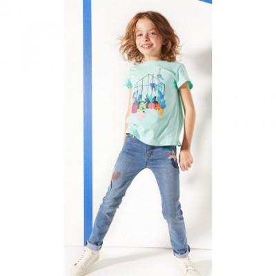 Jeans bordadas com maxi flores Catimini