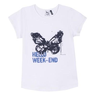 T-shirt branca estampa borboleta 3pommes