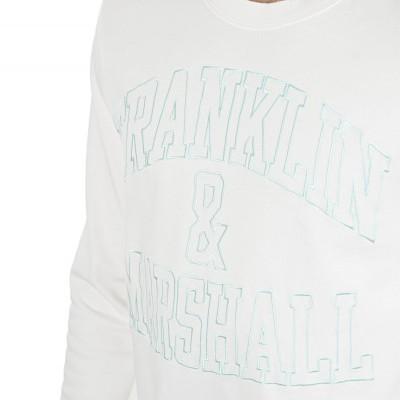 Sweat branca com letras em verde água Franklin & Marshall