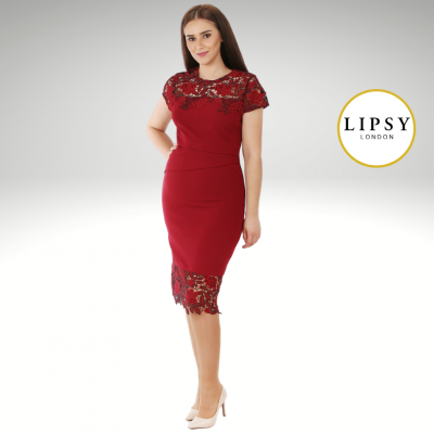 Vestido midi bordô Lipsy London