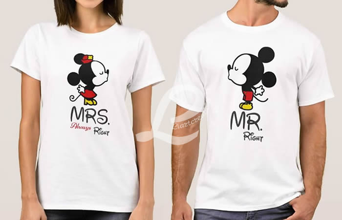 T-shirt  Namorados MR Right / MRS Always Right