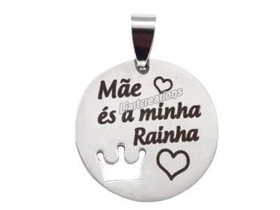 """Medalha Coroa Recortada """"Mãe és a minha Rainha""""  Prateado/ Dourado"""