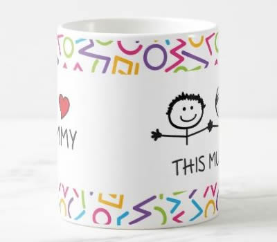 "Caneca ""I / We Love Mommy This Much"" (Versão 2)"