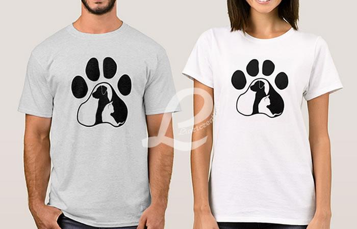 T-shirt Pata com Cão e Gato
