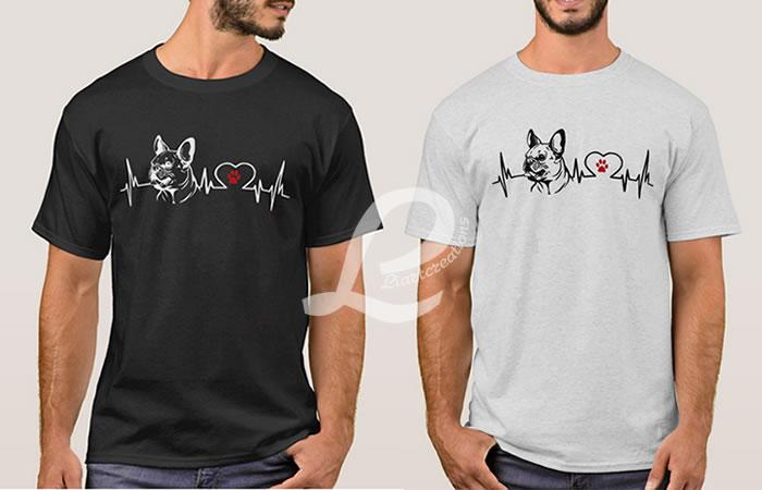 T-shirt Batimentos Cardiacos Bulldog Francês