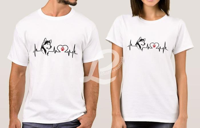 T-shirt Batimentos Cardiacos Husky Siberiano