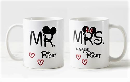 Conjunto Canecas Mr. e Mrs Right