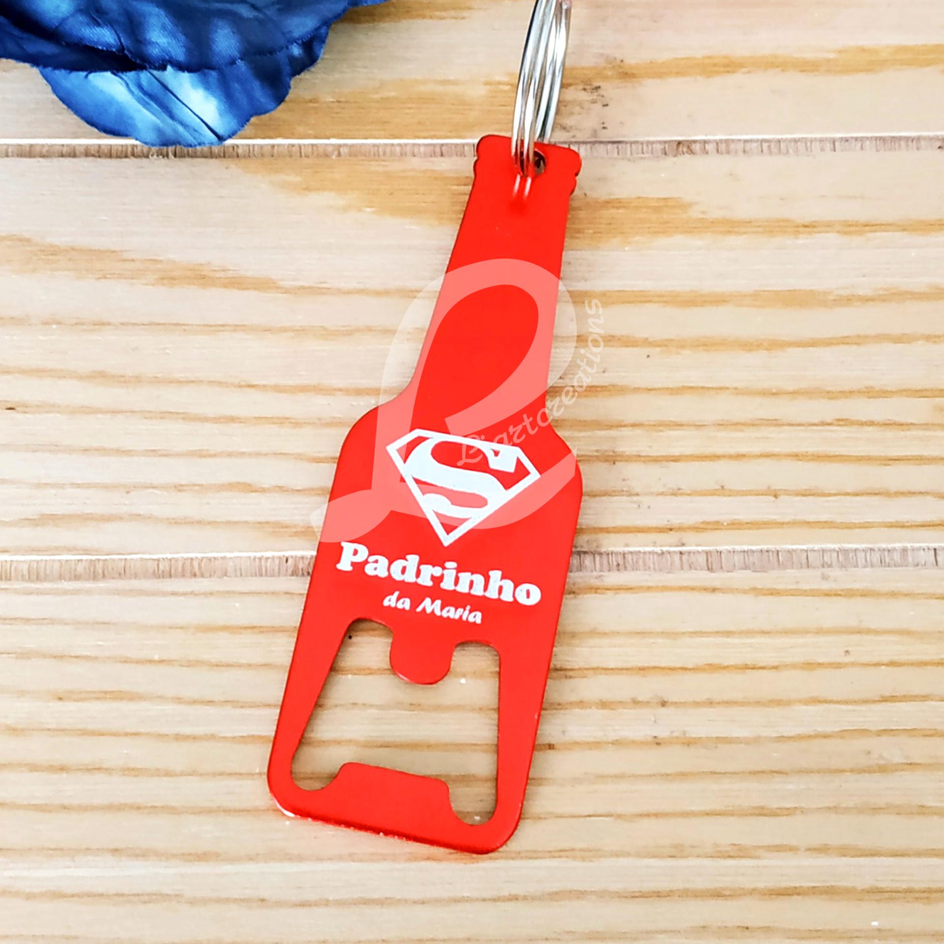 """Porta-chaves abre-garrafas """" Super-Padrinho"""""""