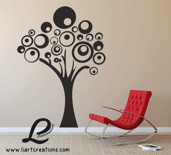 Árvore Abstrata Círculos - Vinil Decorativo