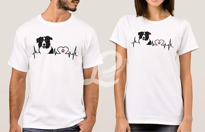 T-shirt Batimentos Cardiacos Border Collie