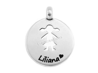 Medalha Menina Recortada Gravação de Nome