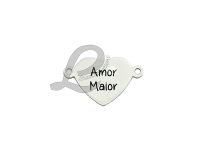"""Conector Coração Aço Inox Gravação """"Amor Maior"""""""