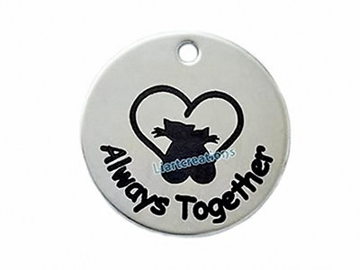 Medalha 30mm Aço Gatos Always Together