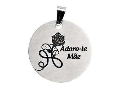 "Medalha Aço Inox Rosa + ""Adoro-te Mãe"""