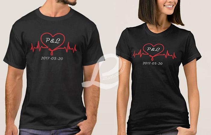 T-shirt  Namorados Personalizada com Iniciais e Data