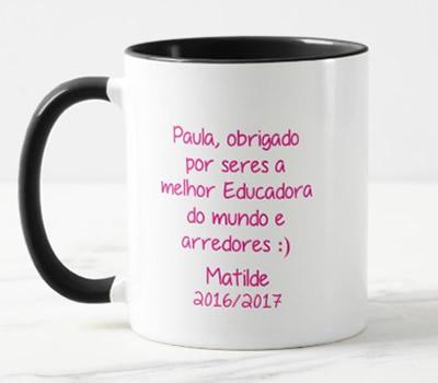 """Caneca """"(Nome) , obrigado por seres a melhor Educadora do mundo e arredores :)"""""""