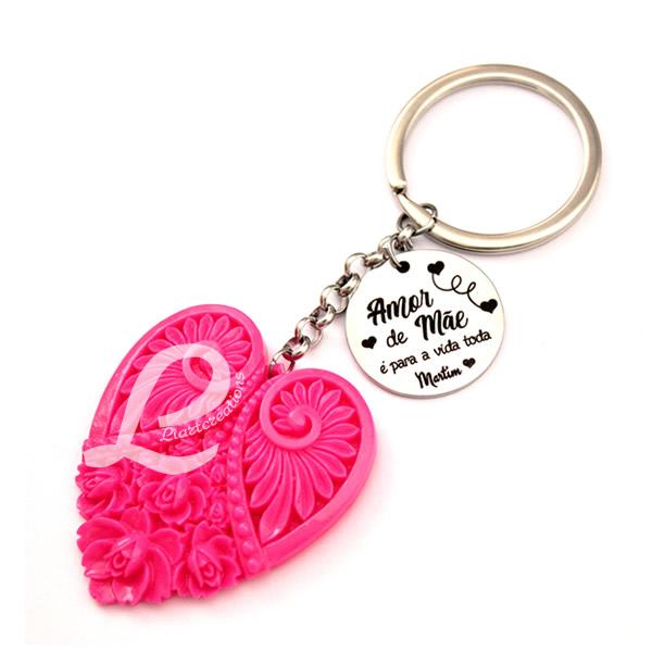 Porta-Chaves Coração Rosa + Medalha Personalizada
