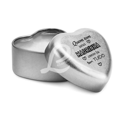 """Bálsamo Labial em Caixa em Forma de Coração c/ Tampa Personalizada """"Quem tem uma Madrinha como tu tem tudo"""""""