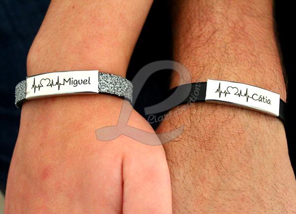 Pulseira Namorados Batimento Cardiaco com Nome Personalizado