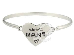 """Pulseira com Coração Personalizado """"Adoro-te Amiga"""""""