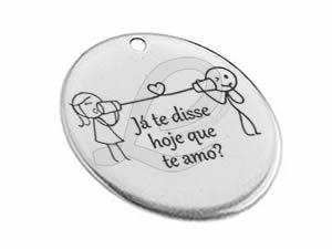 "Medalha Zamak Casal de Namorados ""Já te disse hoje que te amo?"""