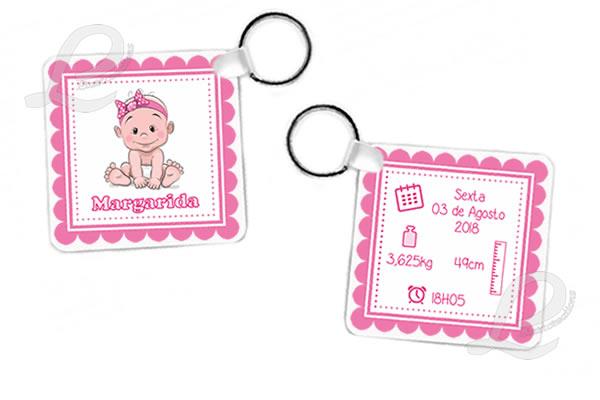 Porta-Chaves Quadrado com Impressão Bebé + Dados de Nascimento