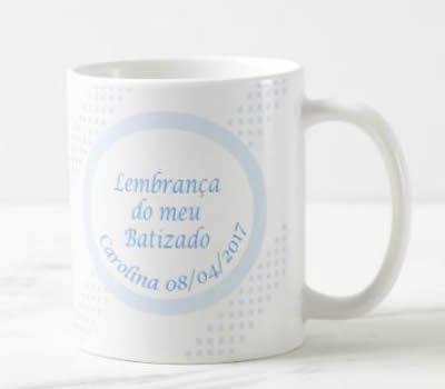 """Caneca """"Lembrança Batismo Menino"""""""