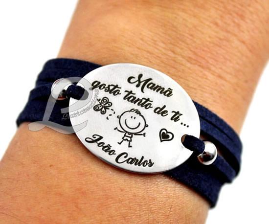 """Pulseira 3 voltas em Camurça  """"Mamã gosto tanto de ti..."""""""