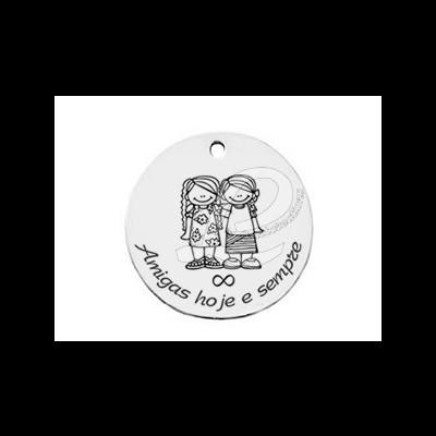 """Medalha Aço """"Amigas hoje e sempre"""""""