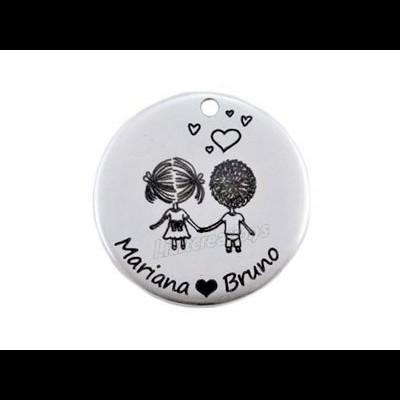Medalha Zamak Casal Namorados + Nomes