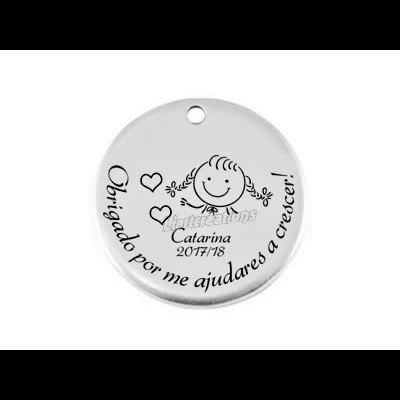 """Medalha Zamak 25mm """" Obrigado por me ajudares a crescer"""" + Menina"""