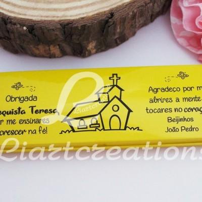 """Conjunto Estojo + Caneta + Lapiseira com Tampa Personalizável """"Obrigada Catequista por me ensinares a crescer na fé"""""""