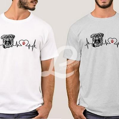 T-shirt Batimentos Cardiacos Bulldog Inglês